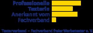 """Logo Texterverband """"Professionelle Texterin, Anerkannt vom Fachverband"""""""